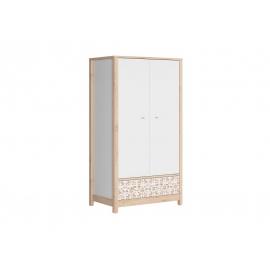 Riidekapp TIMON pöök / valge, 100x60xH182 cm