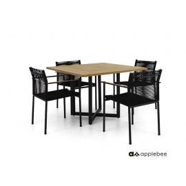 Aiamööbli komplekt Apple Bee JAKARTA mattmust / must, 4 tooli + laud