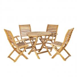 Aiamööblikomplekt CHERRY laud ja 4 tooli (13325 + 13326) kokkupandav