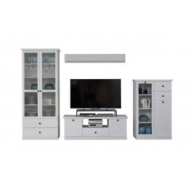Elutoamööbli komplekt BAXTER valge, 331x41xH196 cm LED