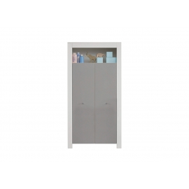 Riidekapp WILSON valge / hall, 54x94xH186 cm