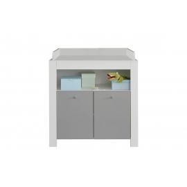 Kummut mähkimisalusega WILSON valge / hall, 96x69xH101 cm