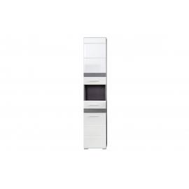 Vannitoakapp SET-ONE valge läige / tumehall, 37x31xH182 cm