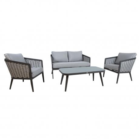 Aiamööblikomplekt MARIE laud, diivan ja 2 tooli, hall