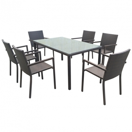 Aiamööbli komplekt BASIC patjadega, laud ja 6 tooli