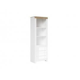 Raamaturiiul valge / tamm, 68x42xH203,5 cm
