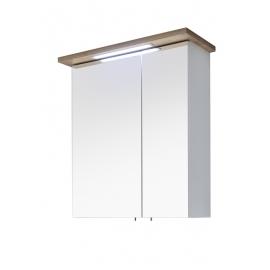 Peegelkapp NOVENTA valge / tamm, 60x20xH72 cm, LED