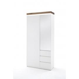Esikukapp ROMINA valge / tamm, 91x38xH198 cm, LED
