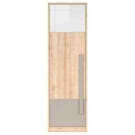 Riidekapp NAMEK pöök / hall / valge, 60x52,5xH198,5 cm