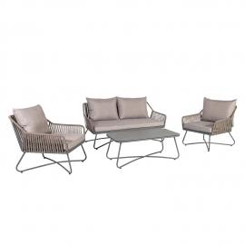 Aiamööblikomplekt ANDROS patjadega, laud, diivan ja 2 tooli