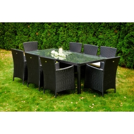 Aiamööbli komplekt Bello Giardino GUSTOSO XL must, 8 tooli + laud