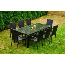 Aiamööbli komplekt Bello Giardino SOTTILE must, 8 tooli + laud
