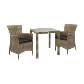 Aiamööbli komplekt WICKER laud ja 2 tooli, cappuccino
