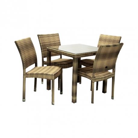 Aiamööbli komplekt WICKER laud ja 4 tooli, cappuccino