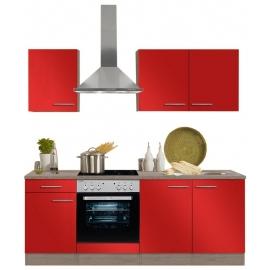 Köögikomplekt OPTIflexx 210 cm, beež läikega või punane läikega
